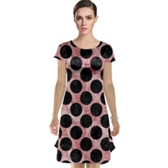 Circles2 Black Marble & Red & White Marble (r) Cap Sleeve Nightdress