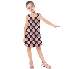 Circles2 Black Marble & Red & White Marble Kids  Sleeveless Dress