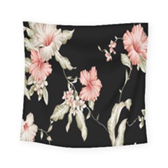Buds Petals Dark Flower Pink Square Tapestry (small)