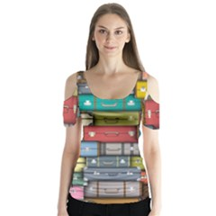 Colored Suitcases Butterfly Sleeve Cutout Tee
