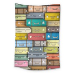 Colored Suitcases Large Tapestry