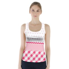 Cute Cartoon Decorative Pink Racer Back Sports Top