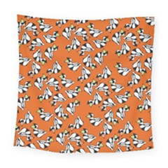 Cat Hat Orange Square Tapestry (large)