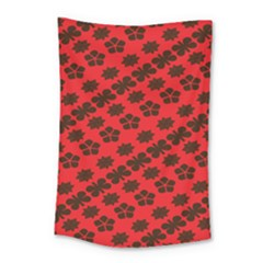 Diogonal Flower Red Small Tapestry