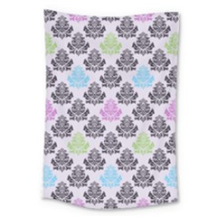 Damask Small Flower Purple Green Blue Black Floral Large Tapestry