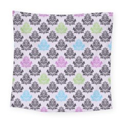 Damask Small Flower Purple Green Blue Black Floral Square Tapestry (large)