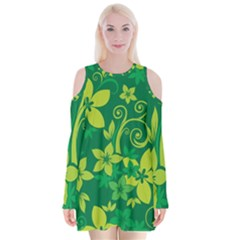 Flower Yellow Green Velvet Long Sleeve Shoulder Cutout Dress