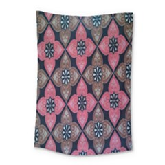 Flower Pink Gray Small Tapestry