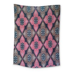 Flower Pink Gray Medium Tapestry