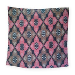 Flower Pink Gray Square Tapestry (large)