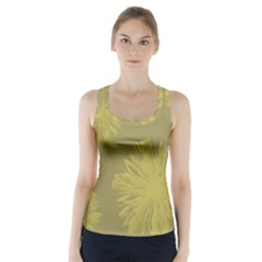 Flower Yelow Racer Back Sports Top