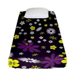 Floral Purple Flower Yellow Fitted Sheet (single Size)