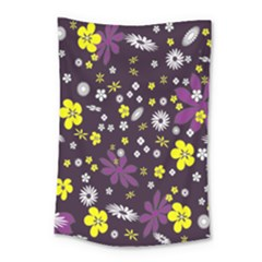 Floral Purple Flower Yellow Small Tapestry