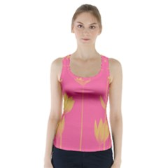 Flower Yellow Pink Racer Back Sports Top