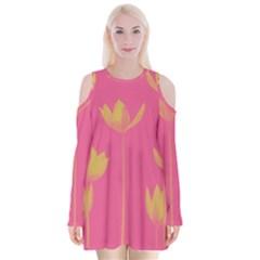 Flower Yellow Pink Velvet Long Sleeve Shoulder Cutout Dress
