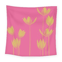 Flower Yellow Pink Square Tapestry (large)