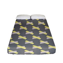 Hearts And Yellow Crossed Washi Tileable Gray Fitted Sheet (full/ Double Size)