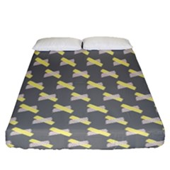 Hearts And Yellow Crossed Washi Tileable Gray Fitted Sheet (queen Size)