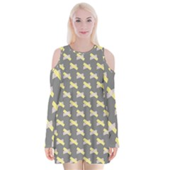 Hearts And Yellow Crossed Washi Tileable Gray Velvet Long Sleeve Shoulder Cutout Dress