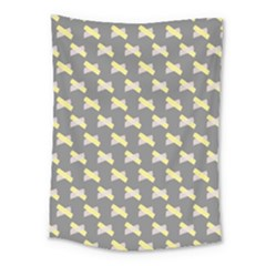 Hearts And Yellow Crossed Washi Tileable Gray Medium Tapestry
