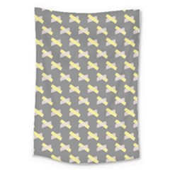 Hearts And Yellow Crossed Washi Tileable Gray Large Tapestry