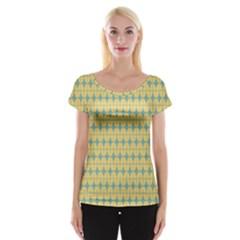 Green Yellow Women s Cap Sleeve Top