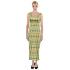 Green Yellow Fitted Maxi Dress