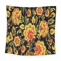 Flower Yellow Green Red Square Tapestry (large)