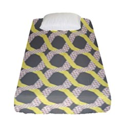 Hearts And Yellow Washi Zigzags Tileable Fitted Sheet (single Size)