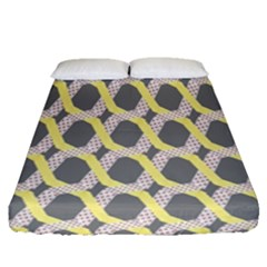 Hearts And Yellow Washi Zigzags Tileable Fitted Sheet (queen Size)