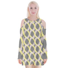 Hearts And Yellow Washi Zigzags Tileable Velvet Long Sleeve Shoulder Cutout Dress