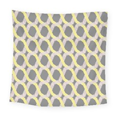Hearts And Yellow Washi Zigzags Tileable Square Tapestry (large)