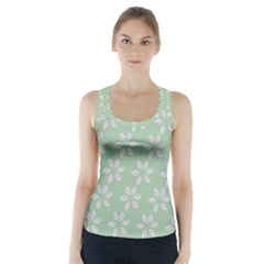 Pink Flowers On Light Green Racer Back Sports Top