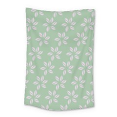 Pink Flowers On Light Green Small Tapestry