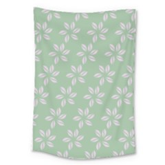 Pink Flowers On Light Green Large Tapestry