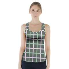 Pink And Green Tiles On Dark Green Racer Back Sports Top