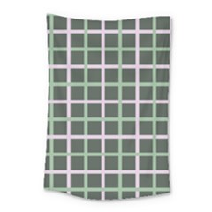 Pink And Green Tiles On Dark Green Small Tapestry