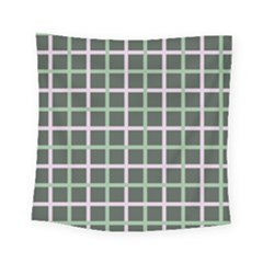 Pink And Green Tiles On Dark Green Square Tapestry (small)
