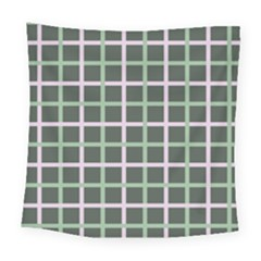 Pink And Green Tiles On Dark Green Square Tapestry (large)