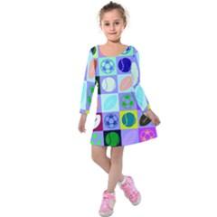 Sports Ball Kids  Long Sleeve Velvet Dress