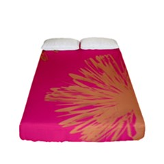 Yellow Flowers On Pink Background Pink Fitted Sheet (full/ Double Size)