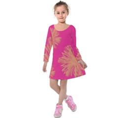 Yellow Flowers On Pink Background Pink Kids  Long Sleeve Velvet Dress