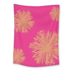 Yellow Flowers On Pink Background Pink Medium Tapestry
