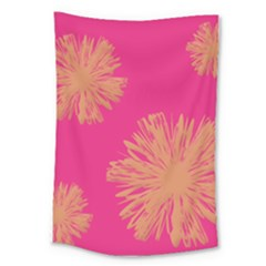 Yellow Flowers On Pink Background Pink Large Tapestry
