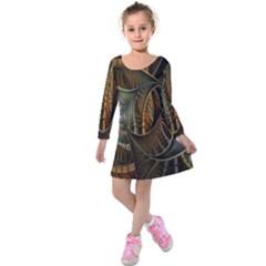 Mosaics Stained Glass Kids  Long Sleeve Velvet Dress