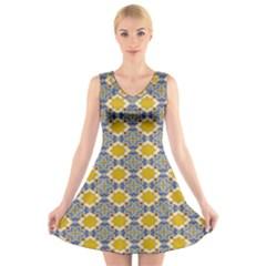 Arabesque Star V Neck Sleeveless Skater Dress