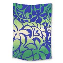 Batik Fabric Flower Large Tapestry