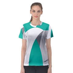 Chevron Green Gray White Women s Sport Mesh Tee