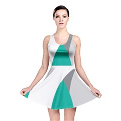 Chevron Green Gray White Reversible Skater Dress