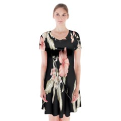 Buds Petals Dark Flower Pink Short Sleeve V Neck Flare Dress
